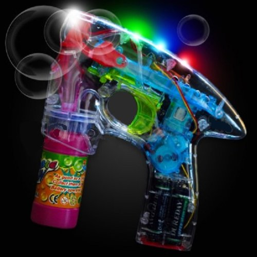 LED Bubble Gun with Light and Sound - Bubble Solution and Batteries Included!