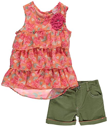 "Nannette Little Girls' Toddler ""Spring Flare"" 2-Piece Outfit - coral, 2t"