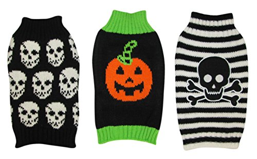 3 Pack - Halloween Dog Sweaters - Skull Striped & Pumpkin & Skull Pattern - XXS
