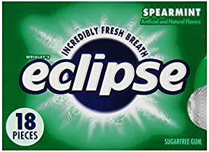 Eclipse Chewing Gum, Spearmint, Tear Pack, 18-Count (Pack of 8)