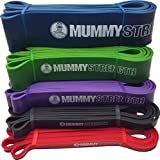 """MummyStrength (TM) Pull Up Assist & Resistance Bands (SINGLE Band - 5 Levels to Choose From   Mix & Match as Needed)   Perfect For Pull-ups, Chin Ups, Muscle Ups, Ring Dips, Home Gym, CrossFit®, Power Lifting, Physical Therapy & all Serious Fitness Programs   41"""" Loop   Get Bar Raising Results & a Body of Steel w/ Pullups   BONUS Digital QuickStart Guide w/ 9 Warm Ups & 11 Muscle Toning Exercises"""