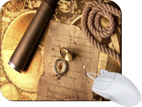 Rikki Knighttm Vintage Navigation Compass Map And Telescope Lightning Series Gaming Mouse Pad