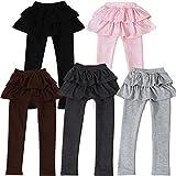 2段 フリル 子供 用 スカッツ 清楚 な 女の子 に ぴったり スカート 付 レギンス 厚さ 2タイプ 5色から選べます (140cm, ブラウン厚め)