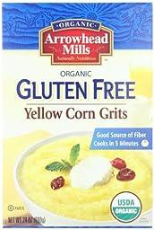 Arrowhead Mills Organic Gluten Free Yellow Corn Grits, 24 Ounce (Pack of 12)