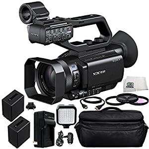 Sony PXW-X70 Professional XDCAM Compact Camcorder + 3PC Multi-Coated Filter Kit (UV+CPL+FLD) + 2 Replacement NP-FV100 Battery + Rapid Travel Charger with E.U Adapter & Car Adapter + 6 FT HDMI Cable + 36 PIN LED Video Light + Carrying Case & Microfiber Cle