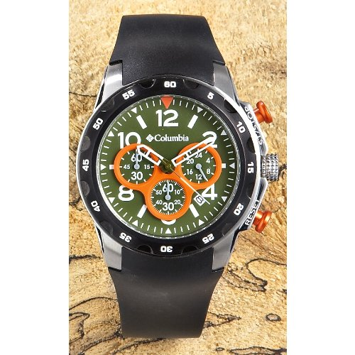 Columbia Transit Chronograph Watch Olive Dial with Orange Eyelets