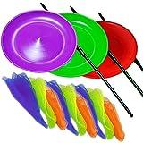Kit de placas de giro 3 malabares con los palillos de plástico y 9 Pañuelos malabares una bolsa de nylon. colores al azar