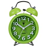 """iCasso 3.5"""" Simple Kid's Quiet Non-ticking Silent Quartz Analog Metal Twin Double Bell Alarm Clock with Loud Alarm with 4pcs iCasso Cable Ties (Green)"""