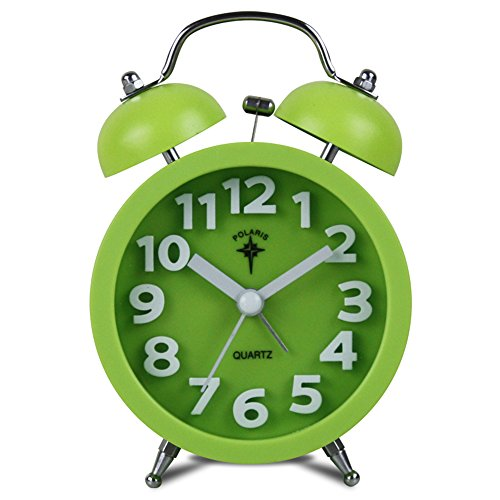 iCasso 3.5 Simple Kid's Quiet Non-ticking Silent Quartz Analog Metal Twin Double Bell Alarm Clock with Loud Alarm with 4pcs iCasso Cable Ties (Green)