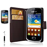 Brown For Samsung Galaxy Mini 2 S6500 Side Wallet Flip PU Leather Case Cover+Screen Protector+STylus - PART OF JJONLINESTORE ACCESSORIES