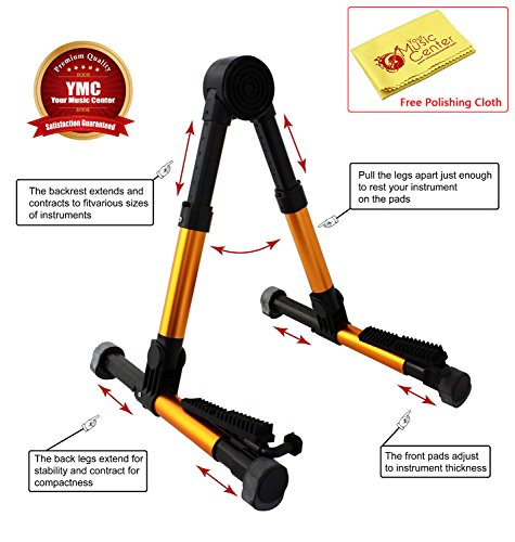 YMC Guitar Stand for Acoustic/Electric/Classical Guitars and Violin, Ukulele, Bass, Banjo, Mandolin - Folding, Portable and Lightweight - Fits Your Fender/Epiphone/Taylor/Yamaha/Martin Music Instrument - The Ultimate for Concert & Travel - Premium Acc...