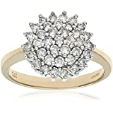 Naava 9ct Yellow Gold Diamond Cluster Ladies Ring