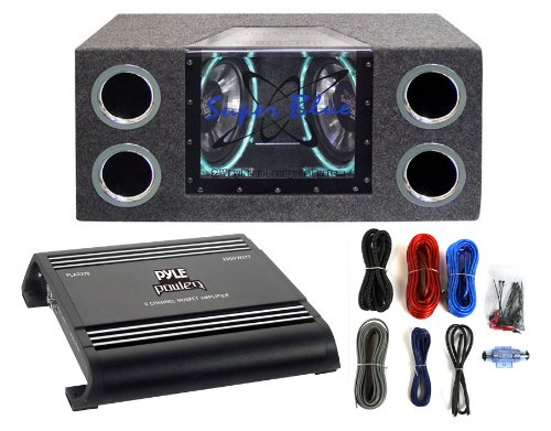 "2) Pyramid Bnps102 10"" 1000W Car Box Subwoofers Bandpass + 2000W Amp + Amp Kit"