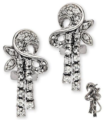 Clevereve Designer Series Sterling Silver Elegant Cz Abstract Drop Earrings
