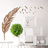 ORDERIN Decal Mural Hand-made Brown Feather Fly Right Removable Wall Stickers Wall Art for Living Room Home Decor