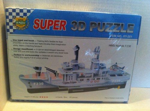 Super 3D Puzzle Frigates warship HMS Norfolk F230,Size: 49x8x18 cm. - 1