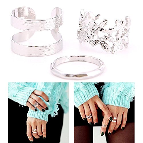 STOREINBOX 3pcs Fashion Leaves Gold Silver Metal