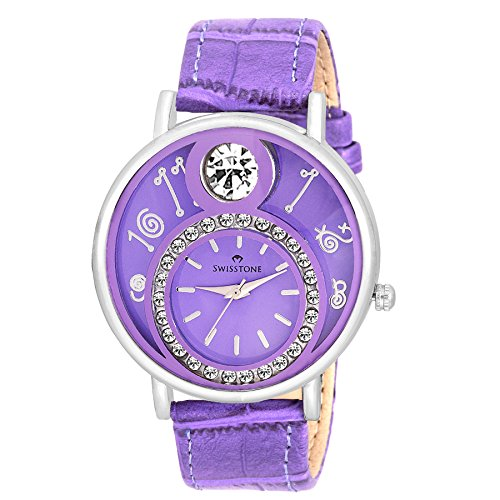 Swisstone VOGLR321-Purple Dial Black Leather Strap Analog Wrist Watch For Women