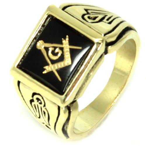 18K Gold Electroplate (Faux Onyx) Onyx Stone - Freemason's Jewelry Masonic Rings for Stone Masons / Free Masonry Member. This Free Masons Masonary Ring featured the Masonic symbol emblem Encrusted in 18K Gold! Free Mason Ring SIZE 8