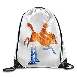 Zhanzy Equestrian Large Drawstring Sport Backpack Sack Bag Sackpack