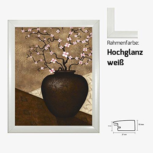 Kunstdruck PARRY - Cherry Blossom in Vase Rosa Kirschblüten in Vase 40 x 50 cm mit MDF-Bilderrahmen & Acrylglas reflexfrei, viele Farben zur Auswahl, hier Hochglanz weiß