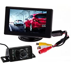 "BW Car Parking System Kits - 4.3"" Color TFT LCD Car Rearview Monitor + 7 Leds IR Night Vision Car Rear View Reverse Reversing Waterproof Video Camera"
