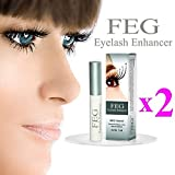 2X FEG Serum, Wimpernserum Augenbrauen & Wimpernverlängerung. Eyelash Enhancer 3ml