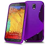 Samsung Galaxy Note 3 Purple S Line Silicone Grip Series Wave Gel Case Skin Cover BY SHUKAN, (PURPLE)