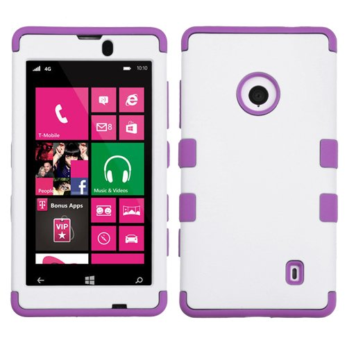 For Nokia Lumia 520 Tuff Case Hybrid 3-Layer Combo Phone Cover Rugged Protector Soft Skin Hard Case + (Phonelicious)Tm Stylus (White / Purple Tuff)