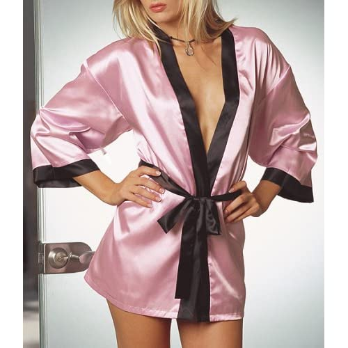 Dreamgirl Women's Charmeuse Reversible Sleepwear Robe with Matching Belt and Padded Lingerie Hanger