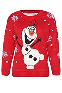 FashionMark Women's Novelty Olaf Frozen Christmas Jumper Ladies Sweater Top (Large (14-16), Olaf Frozen Red)