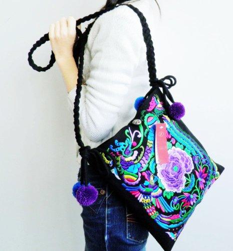 Women's Shoulder Messenger bag embroidered floral embroidery