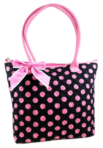 Quilted Cotton Polka Dot Print Tote Bag w/ Ribbon Bow and Gingham Lining