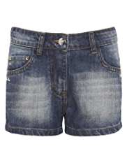Pure Cotton Star Studded Denim Shorts