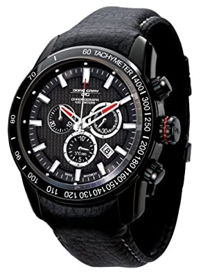 Jorg Gray 3700 Chrono PVD 45mm Watch - Black Dial, Black Leather Strap JG3700-31