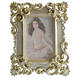 Gift Garden 4 by 6 -inch Silver Hand Painted Picture Frame for Photo 4x6