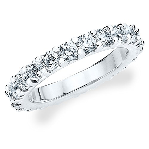 18K White Gold Diamond Knife Edge Eternity Band (2.0 Cttw, G-H Color, Si1-Si2 Clarity) Size 6.5