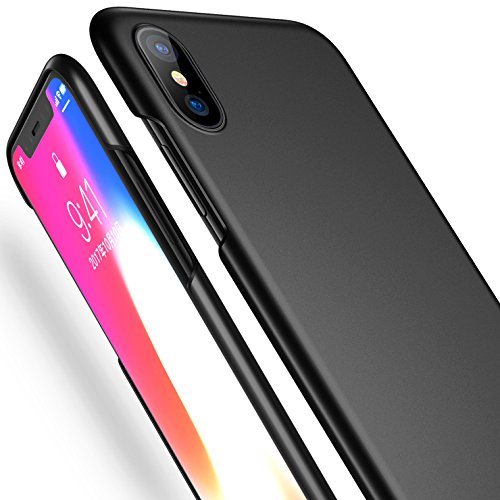 CASEKOO iPhone X Case Ultra Thin Slim Fit Case Hard Protective Anti-Scratch Matte Surface with Excellent Grip Compatible with iPhone iPhone X (ONLY)-Black [+Peso($46.00 c/100gr)] (US.AZ.9.89-0-B075SC824C.625)