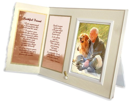 Faithful Friend Poem Pet Memorial Keepsake Picture Frame and Pet Loss Sympathy Gift, Warm White with Foil Accent