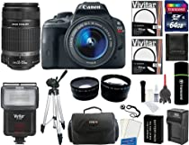 Canon EOS Rebel SL1 Digital SLR Camera with EF-S 18-55mm f/3.5-5.6 IS STM Lens + Canon EF-S 55-250mm f/4-5.6 IS II Zoom Lens + 64GB Card + Flash + Tripod + Case + Battery + Filters + 2 Lenses + Accessory Kit