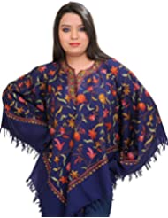 Exotic India Poncho From Kashmir With Ari Hand-Embroidered Flowers All-Over