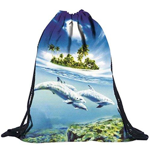 kingko® Zaino coulisse 39cm*30cm retrò borse unisex Zaini stampa 3D Borse geometrica del fascio dello zaino Drawstring Port Shopping Bag Sport