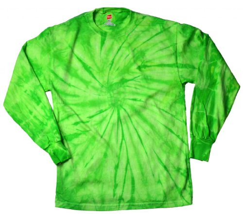 Buy Cool Shirts Mens Tie Dye Shirt Spider Lime Green Long Sleeve T-Shirt LG (Green Tye Dye Long Sleeve Shirt compare prices)