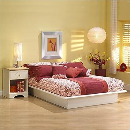 South Shore Newbury White Wood Platform Bed 4 Piece Bedroom Set - Full