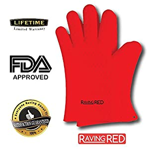 RAVING RED: The Ultimate Protective Heat Resistant & Waterproof Silicone Gloves