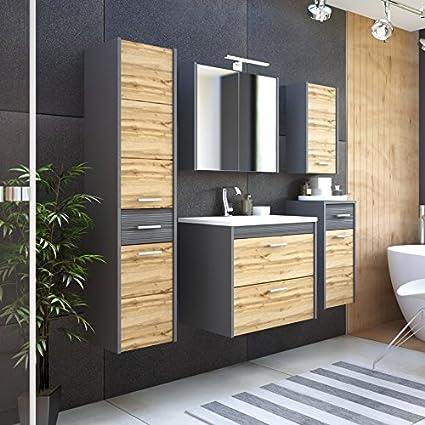 Set mobili da bagno IBIZA in legno di quercia & GRIGIO 60cm - PAESE rovere, Komplettes Set