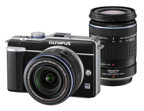 Olympus E-PL1  Compact System Camera - Black (14-42mm Black  &  40-150mm Black Lenses)