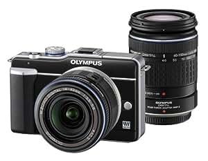Olympus PEN E-PL1 Systemkamera (13 Megapixel, 6,9 cm Display, Bildstabilisator) Double Zoom Kit (EZ-M1442L & EZ4015-2) schwarz