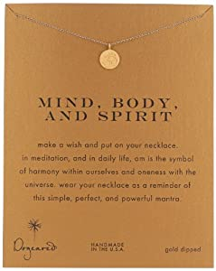 """Dogeared """"Reminders"""" Mind Body Spirit Om Disc Gold Charm Necklace, 18"""""""