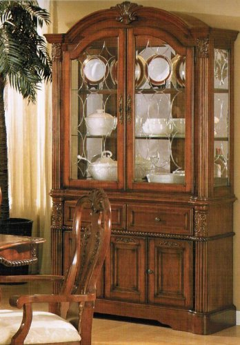 Cheap China Cabinet Buffet Hutch – Queen Anne Style Dark Walnut (VF_F6073)